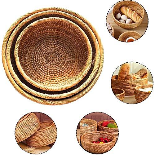 3 PIECES Candy Woven opslag mand lade, handgemaakte ronde rotan fruitschaal voor opslag peren, tomaten en sinaasappelen