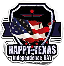 Hanabi 3 Pcs Stickers Happy Texas Independence Day for 4Th of July 2017 4 × 3 Inch Vinyl Die-Cut Decals for Laptop Window