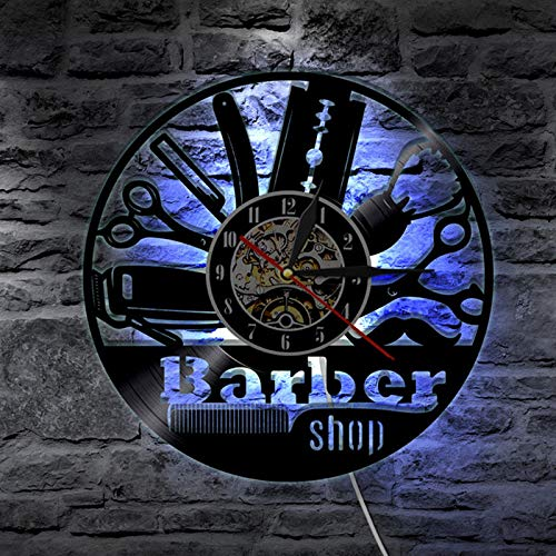 TINI Hairdresser Vinyl Record Wall Modern Design Barber Shop Salon Beauty Salon s Barbershop LED Wall Watch Home Decor White
