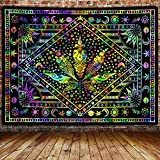 Psychedelic Cannabis Leaf Tapestry, Tie Dye Weed Marijuana Leaf Mystic Trippy Hippie Sun Moon Wall Hanging Tapestry Home Decor for Bedroom Living Room Dorm Apartment 60x40inches