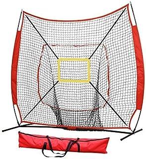 7' x 7' Baseball&Softball Practice Hitting & Pitching Net with Bow Frame,Carry Bag and Bonus Strike Zone