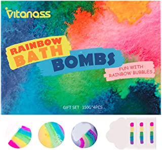 Sponsored Ad - VITANASS 4 Colourful Rainbow Bath Bombs Gift Set,Handmade Fizzy Spa & Bubble Bath Balls Kit with Vegan,Natu...