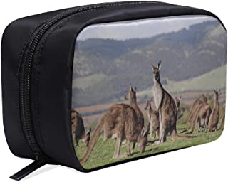 Many Kangaroo Closeup With Hills Portable Travel Makeup Cosmetic Bags Organizer Multifunction Case Small Toiletry Bags For Women And Men Brushes Case