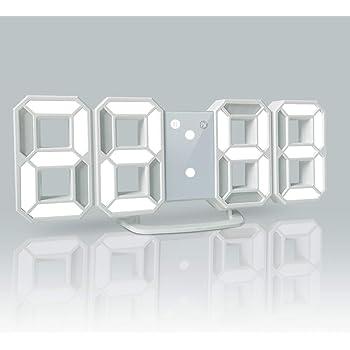 YABAE デジタル時計 LEDデジタル 目覚まし時計 時計 壁掛け 3D led wall clock 置き時計 置時計 おしゃれ 多機能 明るさ調整 スヌーズ アラーム クロック 12H/24H時間表示 立体 卓上 ACアダプター付属 ホワイト AL-02-W 【Amazon.co.jp 限定】