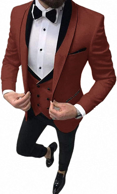 Formal Men's Business Tuxedo Blazer Coat Vest Pants Dress Suit for Banquet Wedding Attire for Groom, Rust Red, Large
