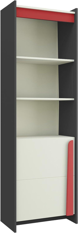 Furniture24_eu Regal Bücherregal TEEN links (Rot Glanz)