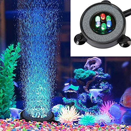 Supmaker Aquarium Air Stone Fish Tank Led Air Stone Bubble Light with 6 Color Changing LEDs for...