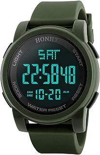 Scpink Orologi sportivi digitali da uomo LED schermo grande faccia orologi militari e impermeabile luminoso casual cronome...