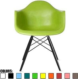 2xhome - Plastic Armchair Black Wood Legs Eiffel Dining Room Chair - Lounge Chair Molded Arm Chair Arms Chairs Seats Wooden Leg Dowel Leg, Green