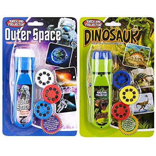 Georgie Porgy Kinder Projektor Taschenlampe Beamer Spielzeuge zum Wand Decke Zelt Lehrreich Wissenschaft Einstellen (Weltraum + Dinosaurier)