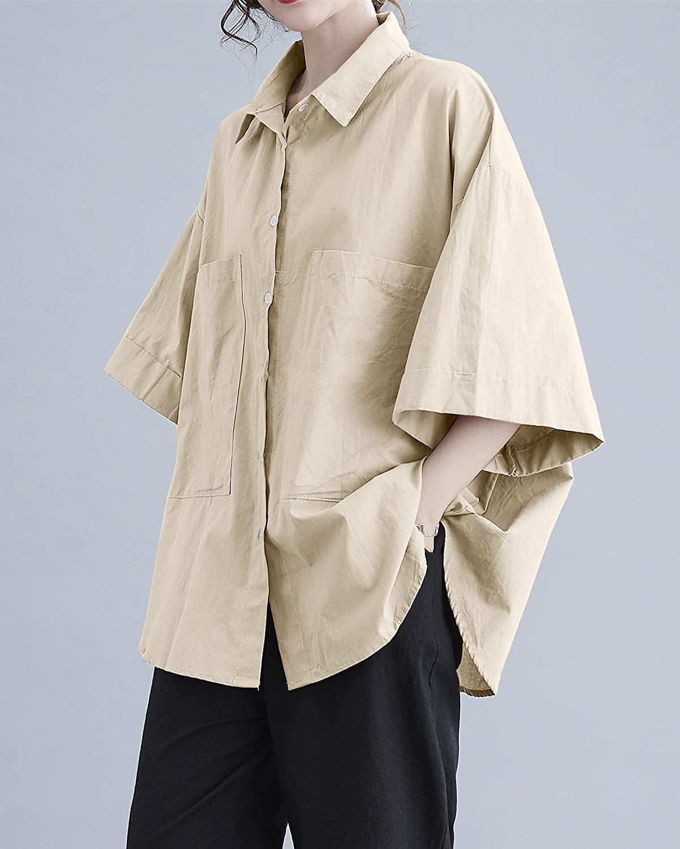 ellazhu Women Short Sleeve Solid Color Button Down Pockets Tops Shirt Blouse GA2325