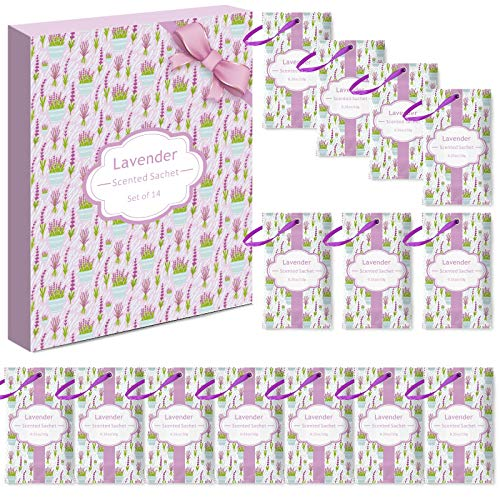 LASENTEUR Duftsäckchen 14 Packungen Lavendelduft Beutel für Schubladen, Schränke, Kleiderschrank, Büro, Badezimmer, Wohnzimmer, Autos, Sporttasche