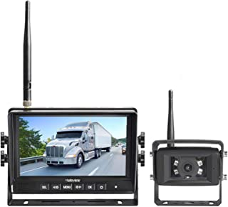Haloview MC7108 Wireless RV Backup Camera System 7'' Monitor Built in DVR Rear View Camera with Infrared Night Vision and ...