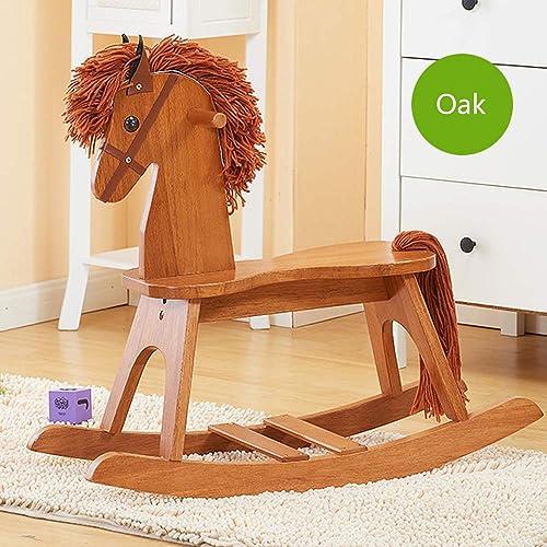 CL- Kinder schaukelpferd solide Holz p gogisches Spielzeug Umwelt Dicke Baby Geschenk 745X260X630mm - Vier Farben optional (Farbe   B)