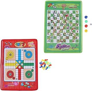 Prettyia 2X Mini Travel Chess Ludo Game Snake & Ladder 38cm x 27cm Foldable Pocket