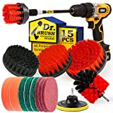 Holikme 15Piece Drill Brush Attachments Set,Red Scrub Pads & Sponge, Power Scrubber Brush with Extend Long Attachment All Purpose Clean for Grout, Tiles, Sinks, Bathtub, Bathroom, Kitchen & Automobi