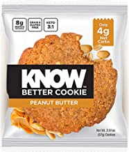 KNOW Foods - KNOW Better Cookie, Peanut Butter, Keto Snack, Low Carb Snack, Protein Cookie, Gluten Free, 2.01oz Cookie, 8 Count