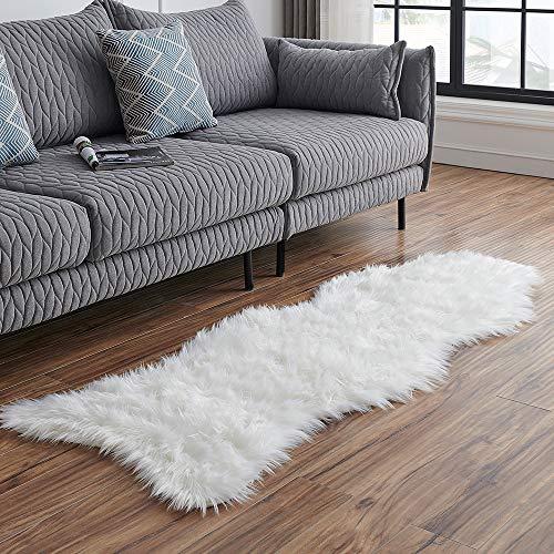 LEEVAN Sheepskin Rug Faux Fur Rug Super Soft Fluffy Chair Cover Seat Cover Shaggy Floor Mat Carpet (2
