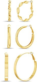 Steve Madden 35mm 45mm 50mm Yellow Twisted Rounded Flat Hoop Earrings for Women 3 Pair Set