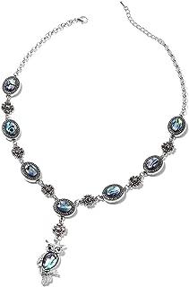 Womens Drop Abalone Shell Tribal Boho Coastal Hammered Dangle Vintage Drop Necklace Pendant Earrings 18