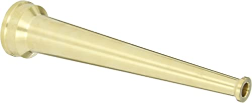 "Dixon Valve BN15F Brass Fire Equipment, Plain Hose Nozzle, 1-1/2"" NST (NH), 10"" Length, 1/2"" Orifice"