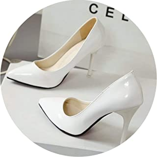 9fb0344768b HANBINGPO Women Shoes Pointed Toe Pumps Patent Leather Dress High Heels  Boat Shoes Wedding Shoes Zapatos