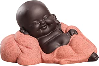Flameer Little Ceramic Baby Monk Maitreya Happy Buddha Statue Figurine Feng Shui Ornament Arts and Crafts - C