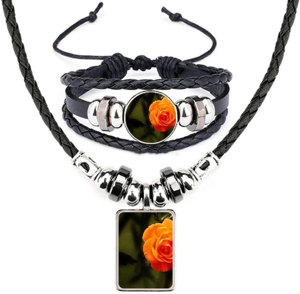 Orange Dark Green Leaves Flower Bracelet Leather Jewelr All Super sale items free shipping Necklace