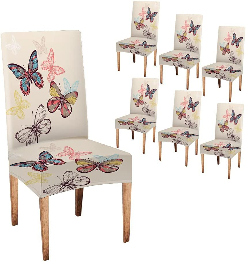 Multicolored Flying Large discharge sale Butterflies Dining Max 43% OFF Butte Chair Covers Musesh