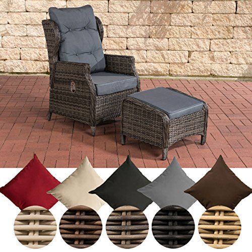 CLP Polyrattan-Sessel BRENO mit Sitzpolster und Fußhocker I Relaxsessel mit Verstellbarer Rückenlehne I erhältlich Bezugfarbe: Eisengrau, Rattanfarbe: Grau-meliert
