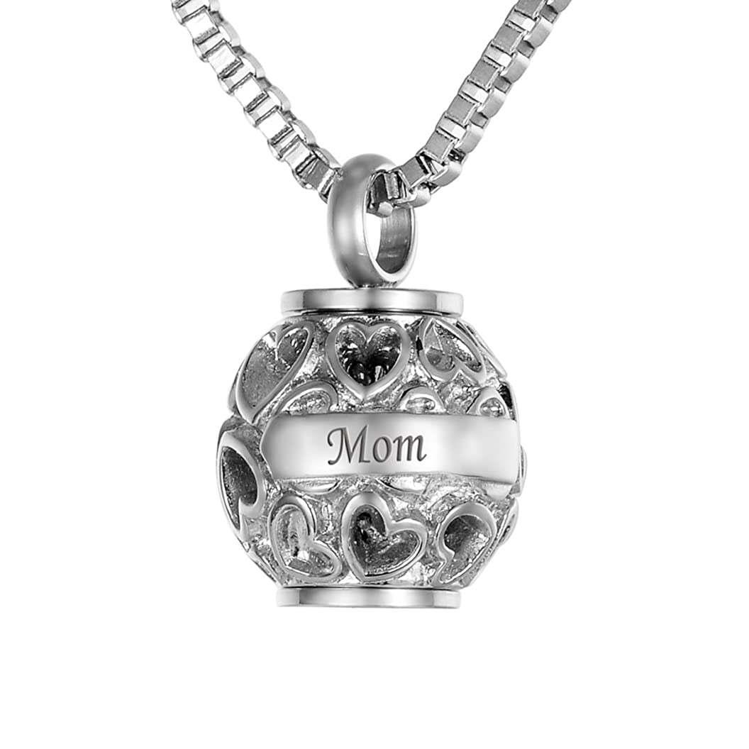 Valyria Hollow Diamond Heart Beads Mom+Always in My Heart Cremation Urn Necklace Keepsake Ashes Memorial Pendant xtjebsiztri82