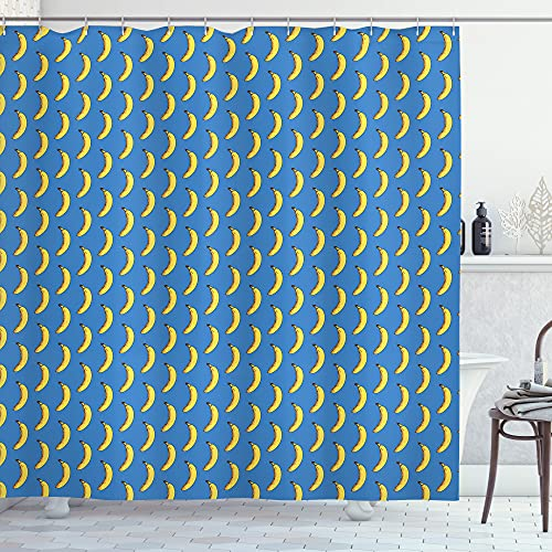 ABAKUHAUS Pop-Art Duschvorhang, Hipster Banana Wiederholung, Waserdichter Stoff mit 12 Haken Set Dekorativer Farbfest Bakterie Resistet, 175 x 180 cm, Kobalt-Blau-Senf