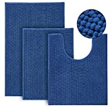 Urvoix Bathroom Rugs and Mats Sets- 3 Pieces Ultra Soft Non-Slip Chenille Bath Rugs Absorbent Bath Mat for Bathroom, Shower and Tub (Navy Blue)