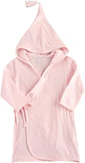 LEYUANA Children Long-Sleeved Cotton Bath Robe,Sleepwear Solid Color Lace Hooded Bathrobe, Toddler Home Bathing Suits 1-5T