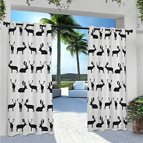 Indoor/Outdoor Curtains Fallow Deer Seating Standing Walking Poses Shadow Silhouette Pattern Hunting Elegant Waterproof Curtain Durable, Water-Resistant, Opaque Charcoal Pale Grey W96 x L84 Inch