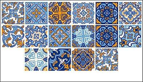 Adhesivo decorativo para pared para azulejos de cocina, diseño retro, resistente al agua, antideslizante, apto para baños, pisos, cocinas, escaleras (60 x 100 cm)