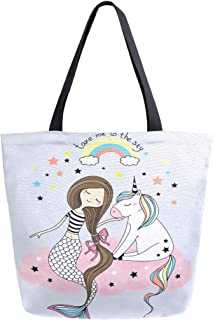 Mnsruu Mnsruu Einkaufstasche aus Segeltuch, wiederverwendbar, Schulter-/Handtasche, Regenbogen-Einhorn, Rosa Meerjungfrau, Reisetasche, für Damen und Mädchen