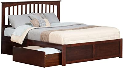 Atlantic Furniture Mission Queen Platform Bed with Flat Panel Foot Board and 2 Urban Bed Drawers