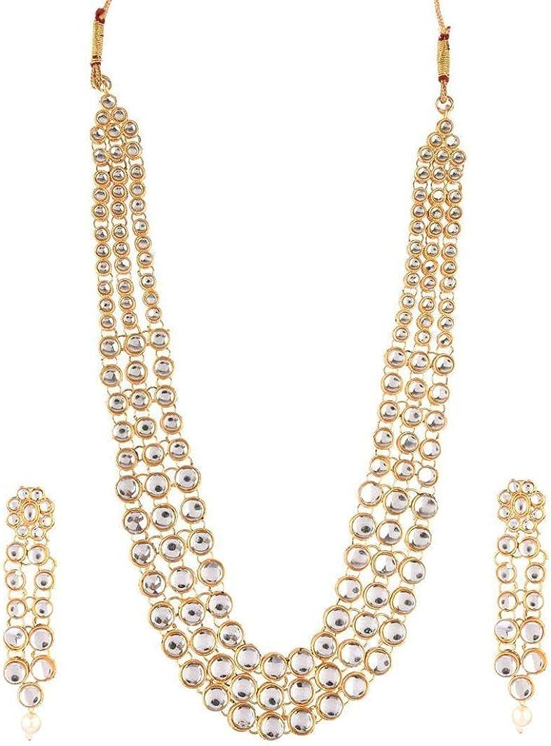 Efulgenz Indian Jewelry Set Crystal Kundan Multi Layered Necklace Earrings Bollywood Wedding Bridal Jewelry Set for Women, White