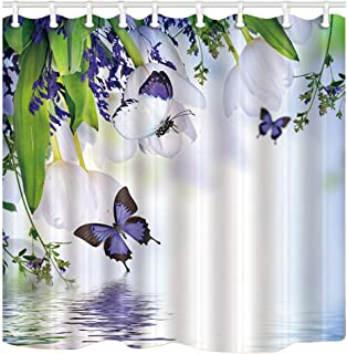 ChuaMi Floral Shower Curtain, White Tulip, Green Leaves and Purple Butterflies on The Water, Bathroom Fabric 70 x 82 Inches Decor with 12 Hooks