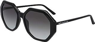 نظارة شمسية للنساء من كالفن كلاين، لون اسود، 55 ملم، CK19502S