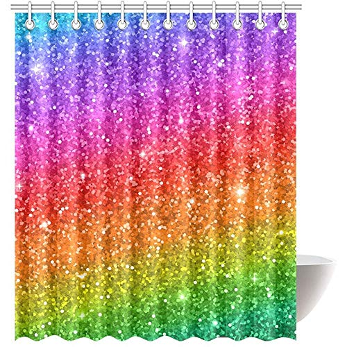 FANCYDAY Mehrfarbiger Regenbogen (Nicht echt) Glitter Sparkling House Decor Duschvorhang für Badezimmer Dekorativer Duschvorhang für Badezimmer mit Ringen