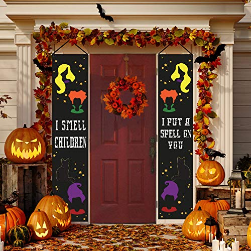 Happy Storm Halloween Decorations Hocus Pocus Banner I Smell Children Halloween Porch Sign Door Hanging Sign with Witch Sisters Black Cat Decor for Home Indoor Outdoor Wall Party Supplies