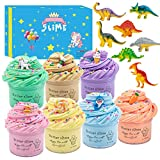 Upgrade 7 Pack Dinosaur Slime Kits,Scented Butter Slimes with Cute Unicorn, Coffee Cup,Ice Cream Charms Ect.Super Soft Stretchy and Non-Sticky Slime for Boys and Girls…