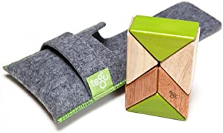 6 Piece Tegu Pocket Pouch Prism Magnetic Wooden Block Set, Jungle