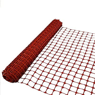 "Abba Patio Snow Fence 4' X 100' Feet Plastic Safety Garden Fence Roll Temporary Poultry Fencing Mesh Economy Construction Fencing for Pet, Rabbits, Chicken, Poultry, Dogs, Orange, 3.25"" Mesh"