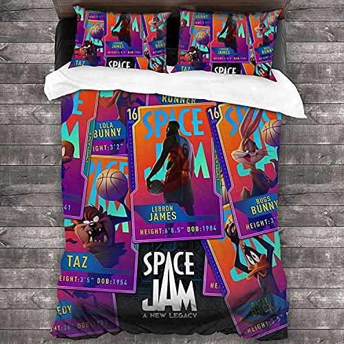 HMSMGS Space Jam: A New Legacy - Juego de cama (3 piezas, funda nórdica de 4,220 x 240 cm + 50 x 75 cm), diseño de Bugs Bunny