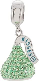 Sterling Silver KISSES 3D Light Green Swarovski Crystal Dangle Charm