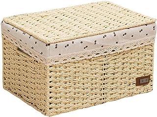 Wguili Organisateur Bureau Bureau Bureau Livres Panier De Rangement en Tissu Boîte De Paille Snack Panier Boîte De Rangeme...