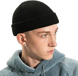 Croogo ニット帽 メンズ 厚い ショートワッチキャップ レディース 浅め ビーニー帽 ボーダーニットキャップ イスラムワッチ帽 メンズ 大きめ カプッチョリッド 無地 秋 冬 子供用